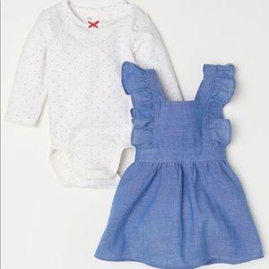 NWT H&M Blue Chambray Bib Dress w Red Dot Onesie